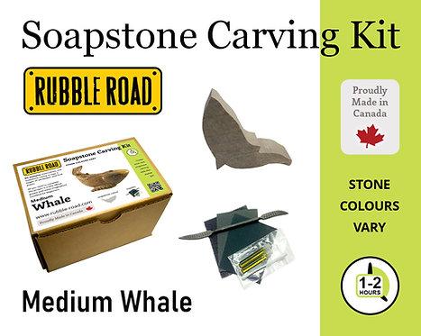 Whale Medium Soapstone Carving Kit