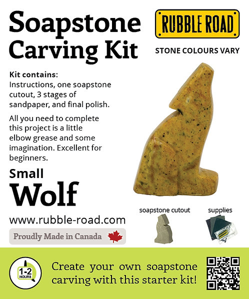 Wolf Small Soapstone Carving Kit