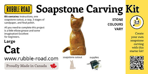 Cat Large Soapstone Carving Kit
