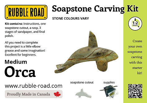 Orca Medium Soapstone Carving Kit