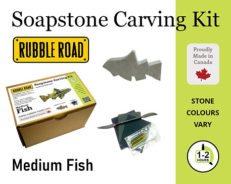 Fish Medium Soapstone Carving Kit