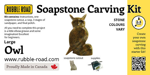 Owl Large Soapstone Carving Kit