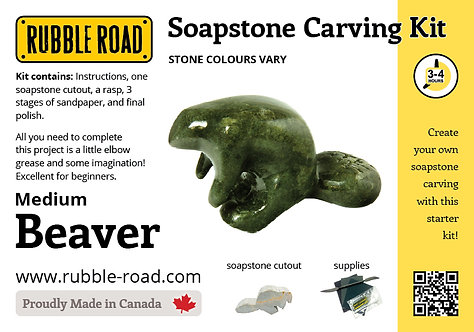 Beaver Medium Soapstone Carving Kit