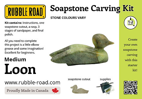 Loon Medium Soapstone Carving Kit
