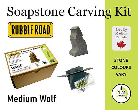 Wolf Medium Soapstone Carving Kit