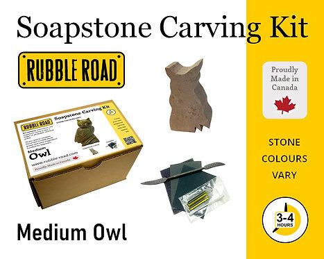 Owl Medium Soapstone Carving Kit