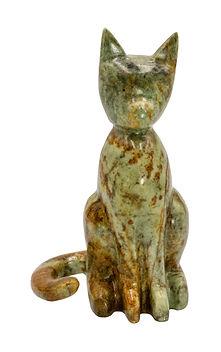 Cat Soapstone Carving Sculpture