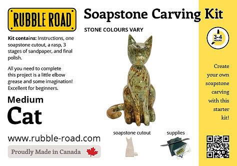 Cat Medium Soapstone Carving Kit