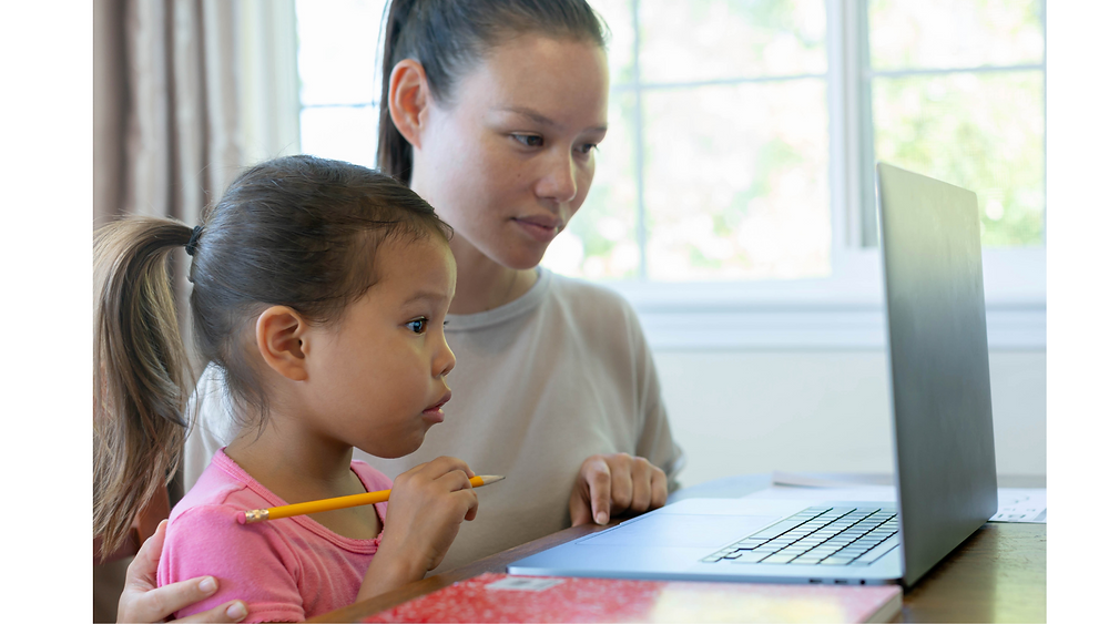 one on one home tutor helps child learn Chinese in Singapore