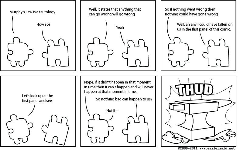comic strip with dark humour about murphy's law as a tautology
