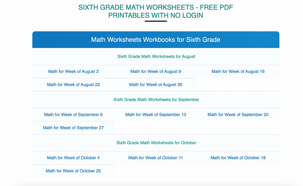 Screenshot of Math Worksheets website with worksheets for sixth grade math class