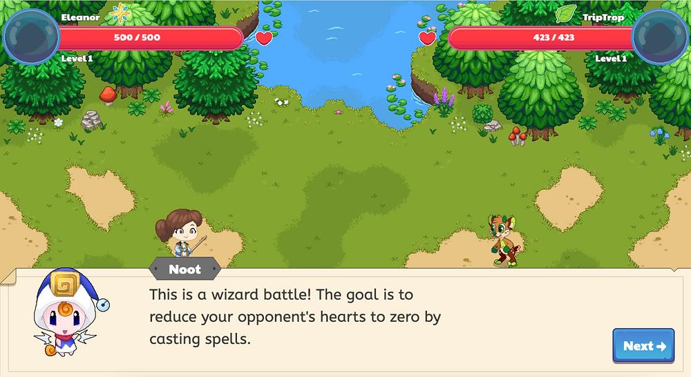 Screenshot of Prodigy math game instructions