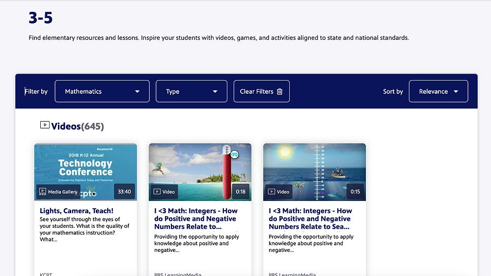 Screenshot of PBS Learning Media's website