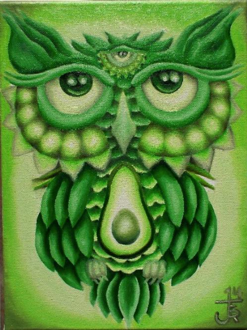 GREEN OWL - Print