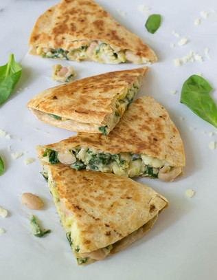 WHITE BEAN & SPINASH QUESADILLAS