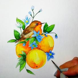 """Птичка и фрукты"""