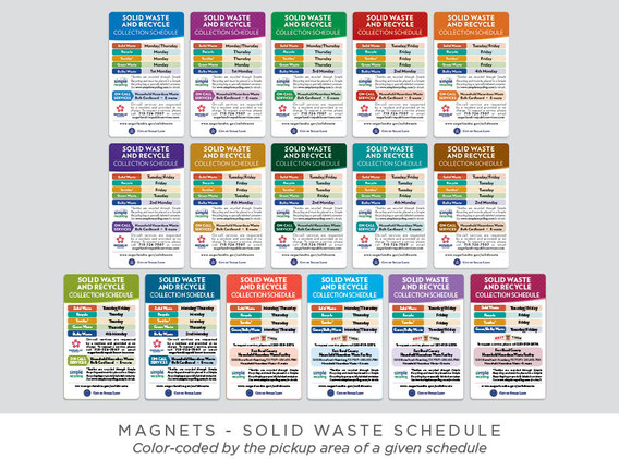 Solid Waste Schedule - Magnet and Postcard - All Magnet Variations
