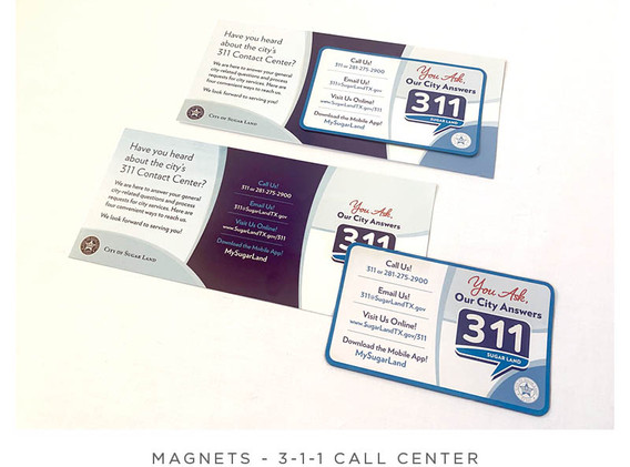 3-1-1 Call Center - Postcard and Magnet - With Magnet Attached and Removed