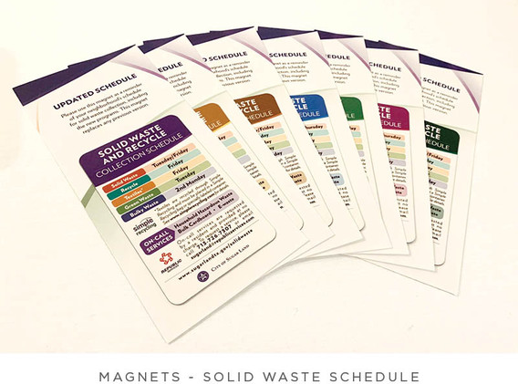 Solid Waste Schedule - Magnet and Postcard - Postcards for multiple Sugar Land Areas