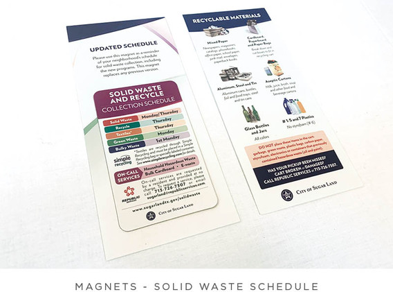 Solid Waste Schedule - Magnet and Postcard - Front and Back View of Postcard