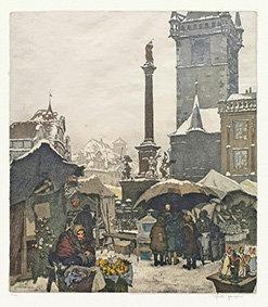 Magnet - Vyobrazení Mariánského sloupu na Staroměstském náměstí a zimní trhy, Ši