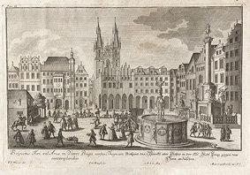 Magnet -Rytina Staroměstského náměstí, F. B. Werner (rok 1740)