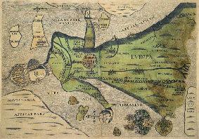 Pohled - Symbolická mapa Evropy jako panny (rok 1592)
