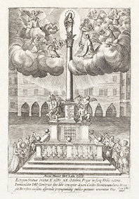 Pohled - Nejstarší známá alegorická rytina mariánského sloupu, bývala sbírka bis