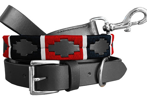 Matching Pair Waxed Embroidered Gaucho Polo Dog Collar and Lead Set