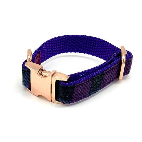 Tartan Purple Dog Collar