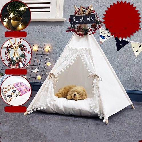 Dog Tent OTent Pet Dog House Kennels Washable Tent Wood Kennel Removable Cushion