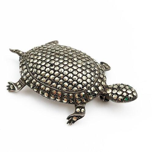 Marcasite Turtle Brooch