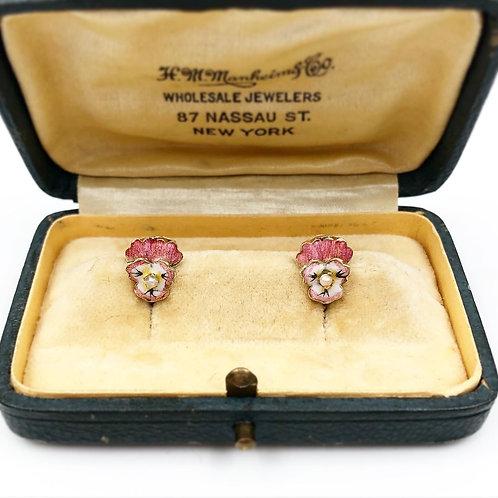 Early 1900's Enamel Pansy Earrings