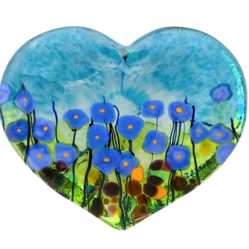 Blue Poppy, Heart Paper Weight Large