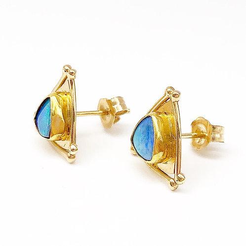 Cabochon Opal Stud Earrings