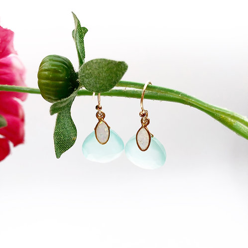 Blue Chalcedony & Opal Earrings