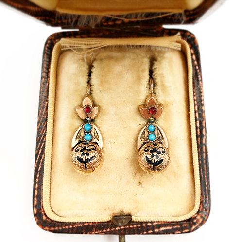 Victorian Garnet & Turquoise Earrings