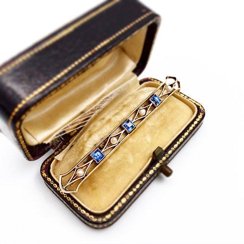 Beautiful Sapphire & Pearl Bar Pin