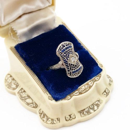 Antique Filigree Diamond & Sapphire Ring