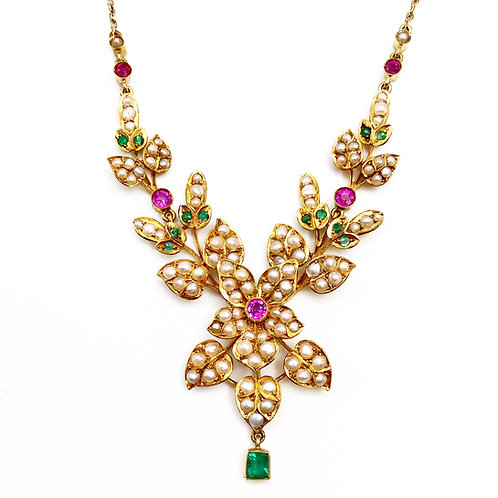 Gorgeous Ruby, Emerald, and Seed Pearl Necklace