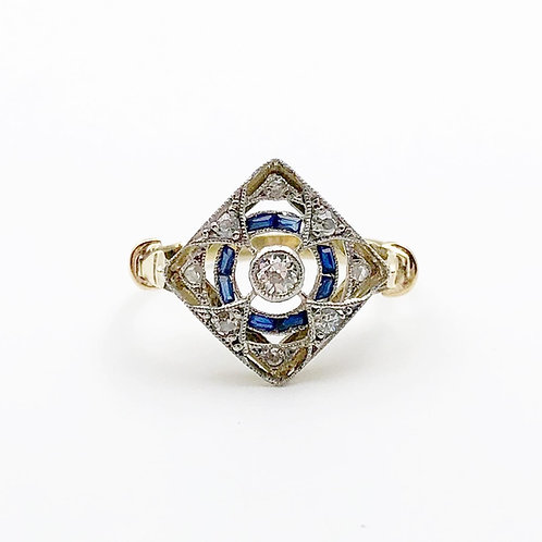 Edwardian Era Diamond & Sapphire Ring