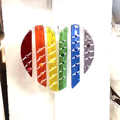 Rainbow Heart Wind Chime