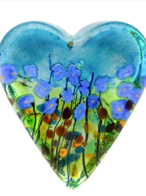 Blue Poppy, Heart Paperweight Small
