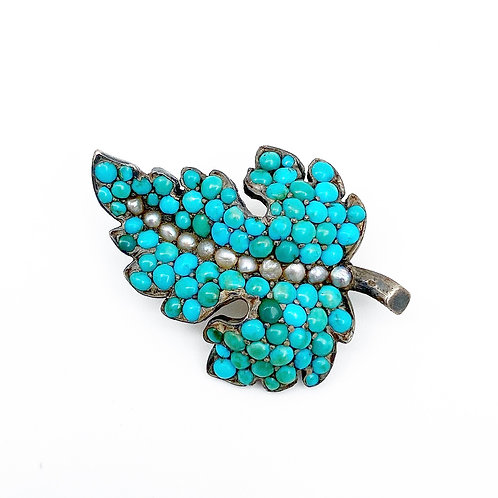Turquoise & Pearl Leaf Pin