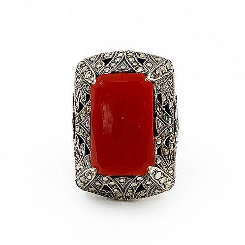 Gorgeous Cornelian & Marcasite Ring