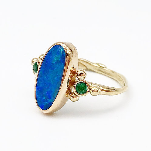 Australian Opal & Emerald Ring