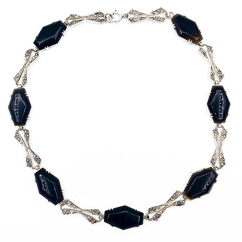 Onyx & Marcasite Choker Necklace
