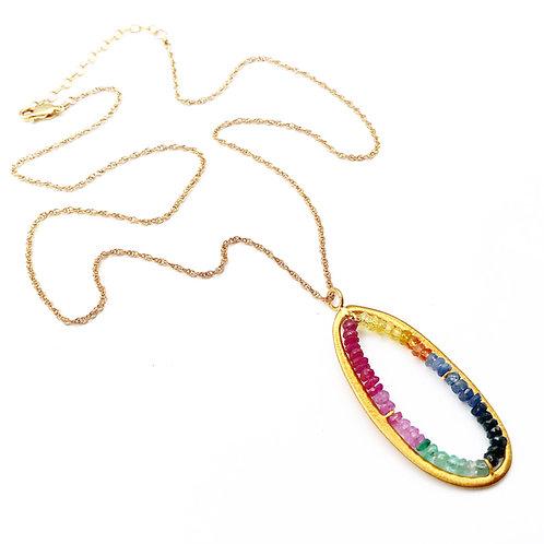 Multi Colored Sapphire Pendant.