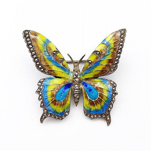 Art Deco Enamel & Marcasite Butterfly