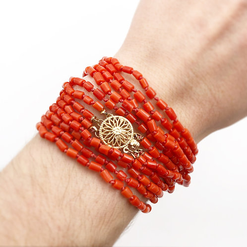 Hand Knotted Coral Necklace or Bracelet